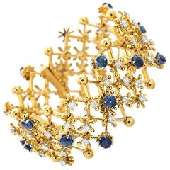 Schlumberger for Tiffany & Co. Diamond  Sapphire Gold Bracelet