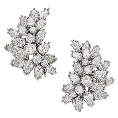 Brilliant and Navette Cut Diamond Earclips