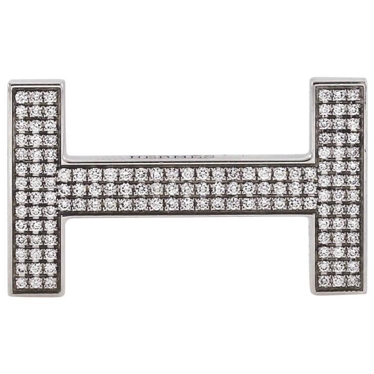 Hermes Diamond Belt Buckle White Gold