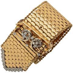 1940s Diamond Gold Belt Buckle Bracelet