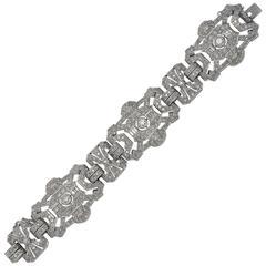 1930s French Art Deco Diamond Platinum Bracelet