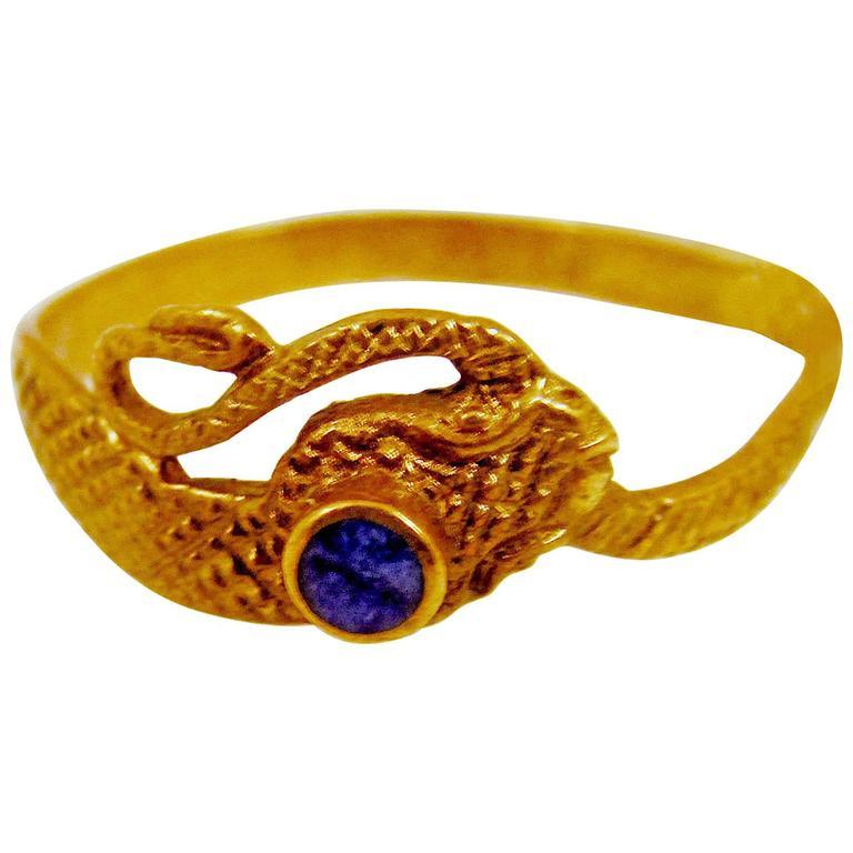antique lapis gold snake ring at 1stdibs