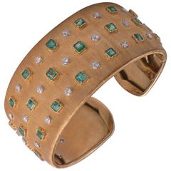 Buccellati Diamond and Emerald Cuff Bracelet