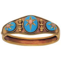 Victorian Cabochon Cut Coral Blue Enamel Gold Bracelet