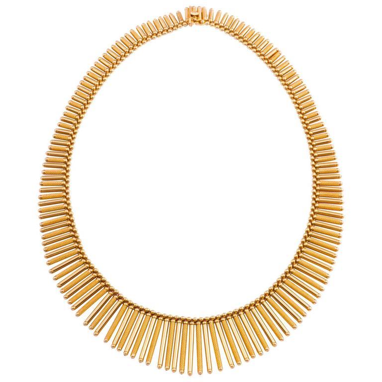 Fabulous Italian Gold Fringe Necklace For Sale