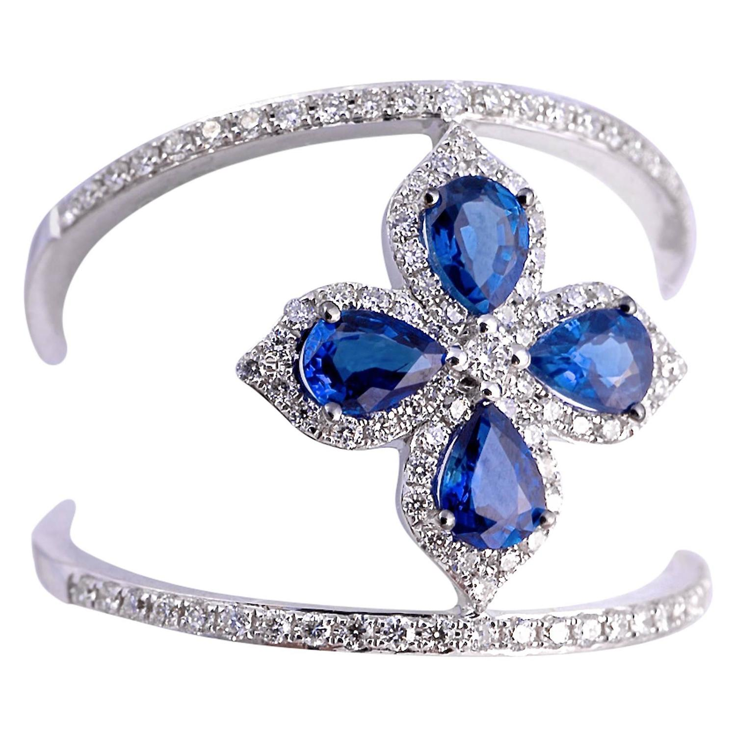 Fabulous Blue Sapphire and Diamond Clover Ring at 1stdibs