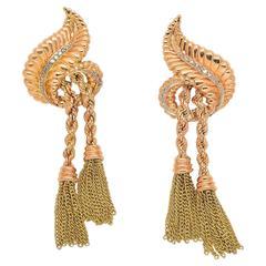 1940s Diamond Gold Tassel Earrings