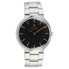Rolex Steel Dress Model Wristwatch with Black Dial Ref 1210