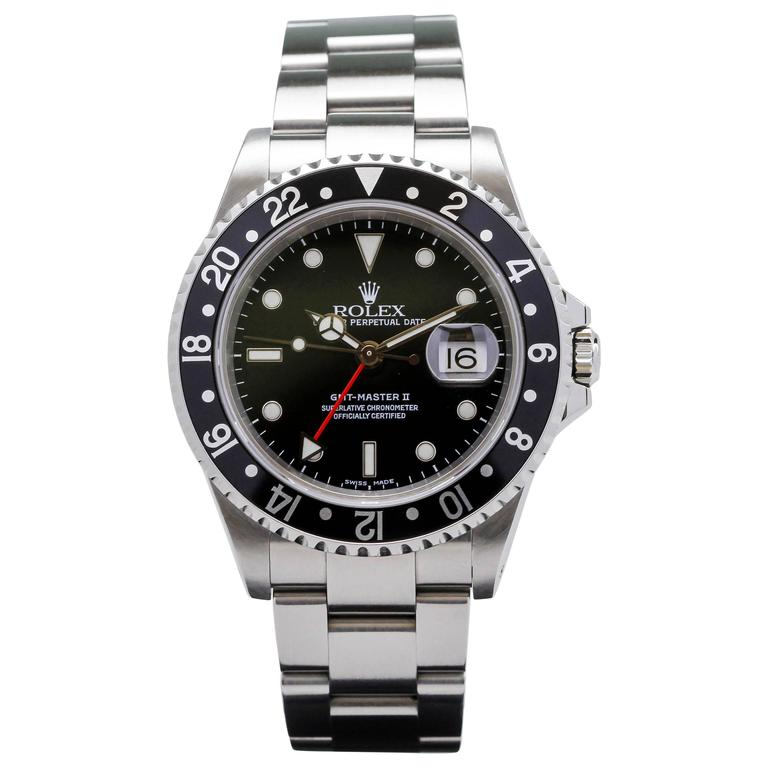 Rolex Stainless Steel GMT Master II Ref 16710  Wristwatch For Sale