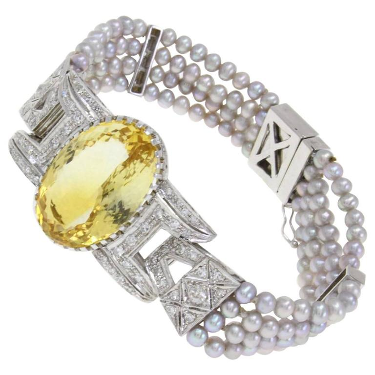 Topaz Diamond Gray Pearl Gold Bracelet