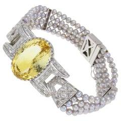 Topaz Diamond Gray Pearl Gold Bracelet