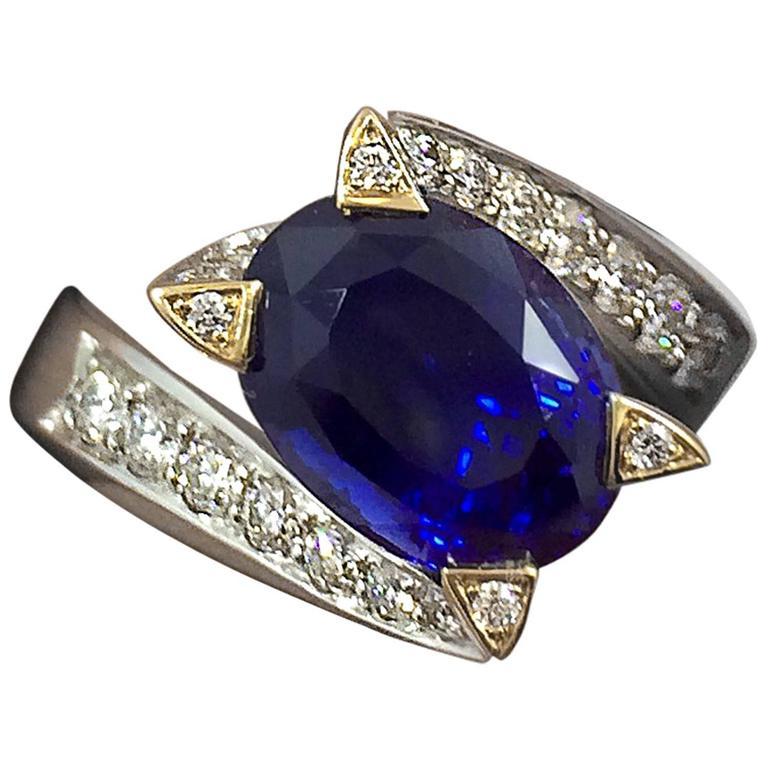 5.14 Carat Unheated Burma Royal Blue Sapphire Diamond Gold Ring For Sale