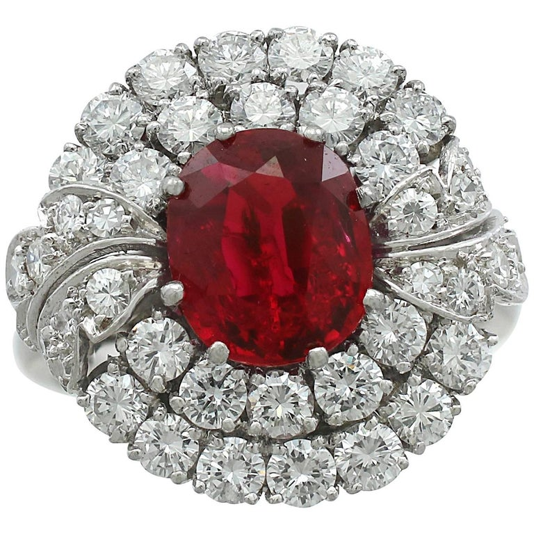 1950s 2.82 Carat Ruby and 2.48 Carat Diamond Platinum Cluster Ring