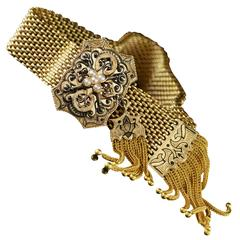 Black Enamel Victorian Mourning Gold Bracelet