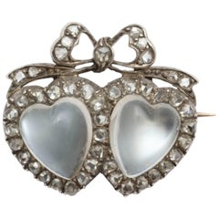 Victorian Moonstone Diamond Silver Gold Double Heart Brooch