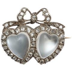 Victorian Moonstone Diamond Silver Gold Double Heart Brooch