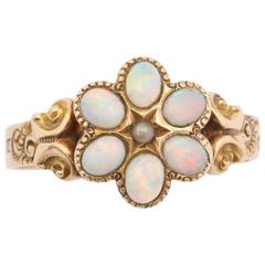 Victorian Opal and Seed Pearl Cluster Ring
