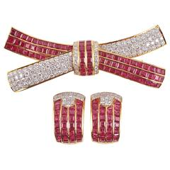 Ruby diamond brooch with matching earrings