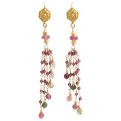 Garnet Tourmaline Bead Gold Dangle Earrings