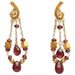 Garnet and Granulated High Karat Gold Dangle Earrings