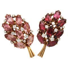 Helen Ringus Wonderful Two Colors Tourmalines Diamonds Gold Earrings