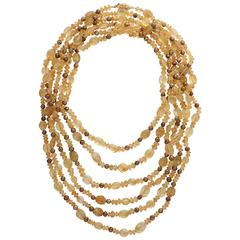 Extra Long Citrine and Brown Pearl 124 in. Necklace