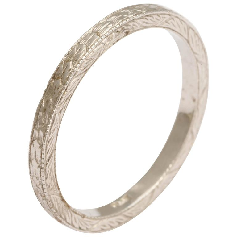 products deco vintage engraved band retro art wedding style ring bands etched platinum