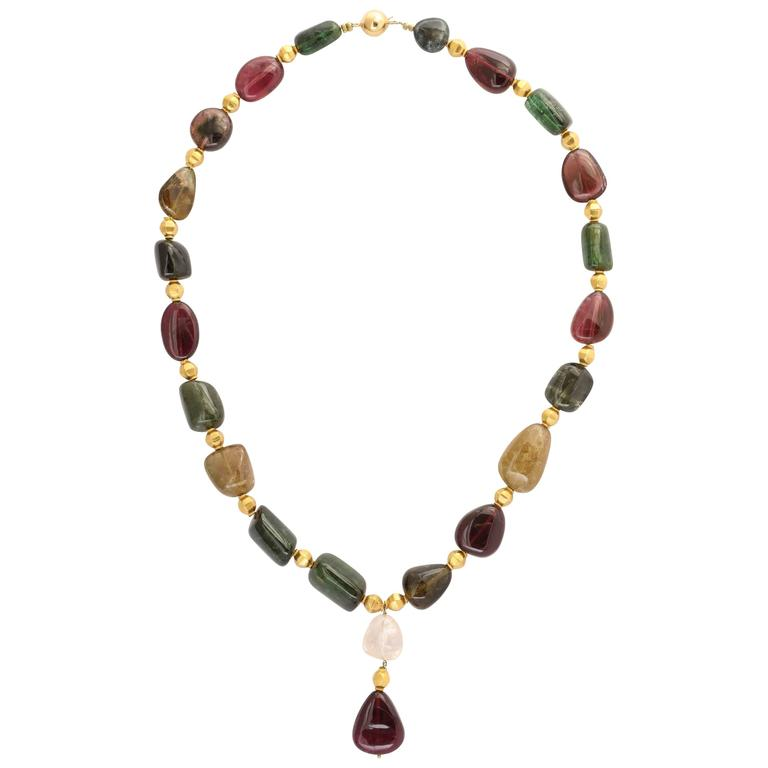 Striking Tourmaline and Gold Bead Necklace