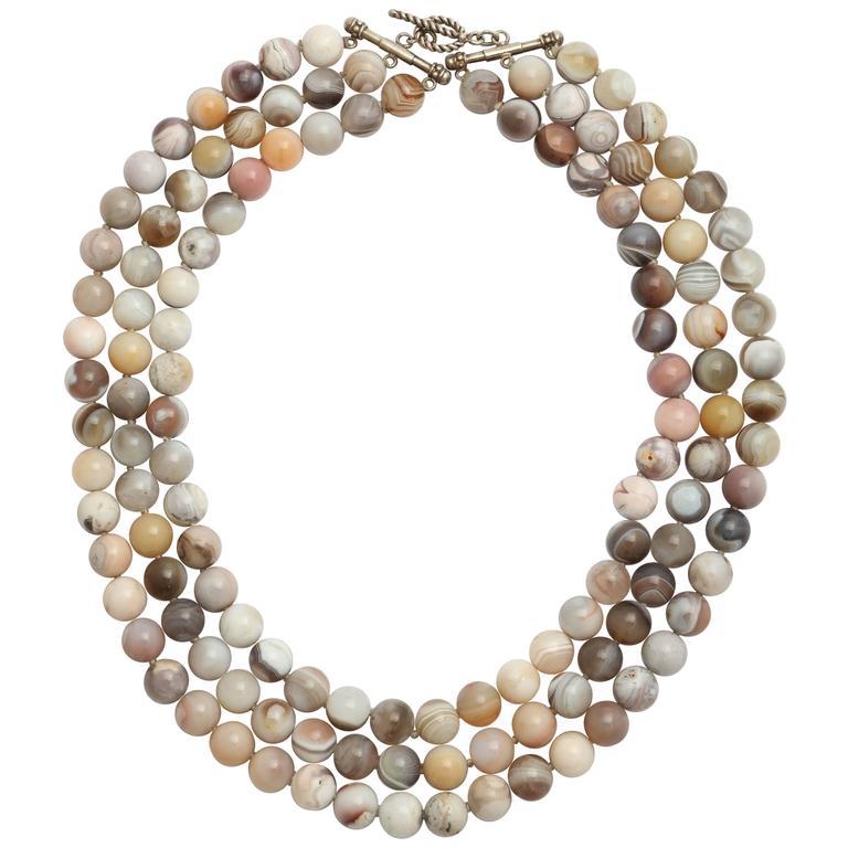 Stunning Triple Strand Botswana Agate Bead Necklace