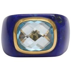 Stunning Lapis and Blue Topaz Gold Ring