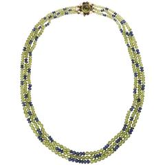 Helen Ringus Unique Pearl Peridot Sapphire Gold Necklace
