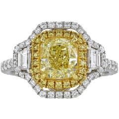 GIA Certified 1.70 Yellow Canary SI1 Diamond Ring With Double Halo