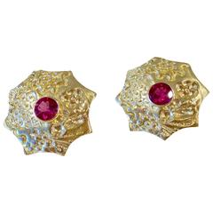 Red Tourmaline and 18k Gold Sea Urchin Earrings