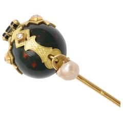Scottish Lapel Pin with Natural Pearl, Rose Diamonds and Bloodstone