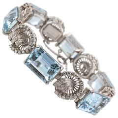 Retro Large Aquamarine Diamond Bracelet