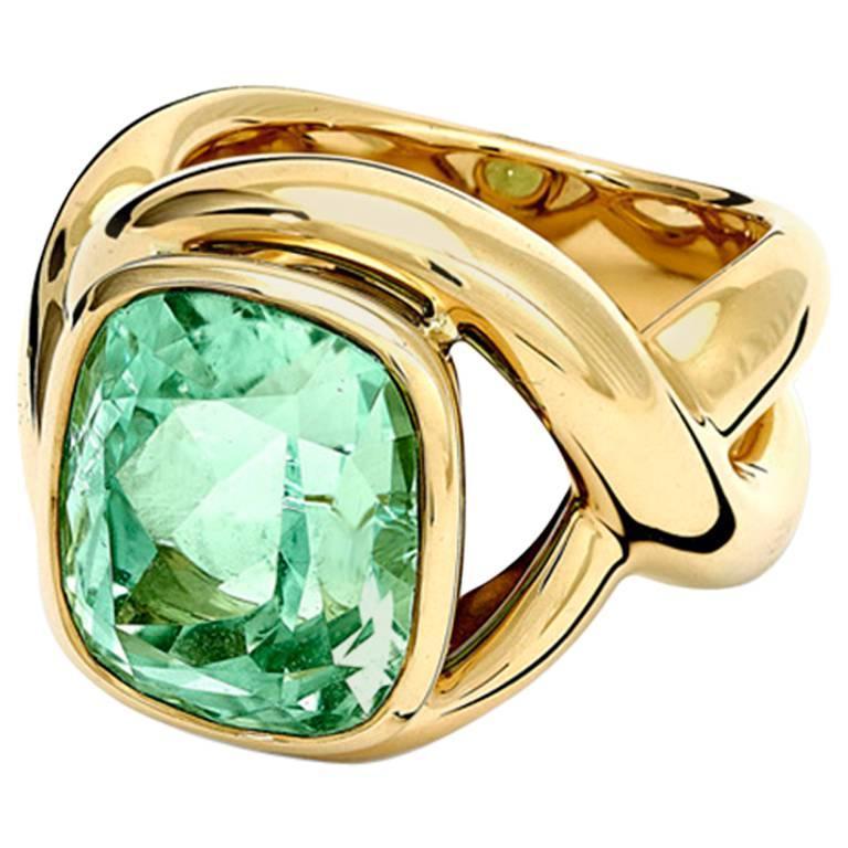 Severine Mint Tourmaline Cushion Cut Ring