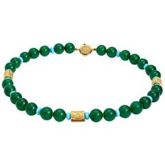 Marinella Green Agate, Turquoise and Gold Necklace