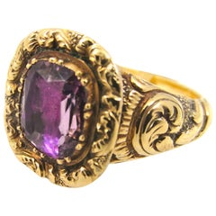 1820s Antique Georgian Amethyst Gold Band Ring