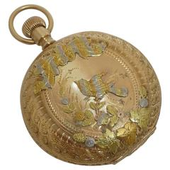 Gold Bird Motif Multi Color Ladies Pocket Watch