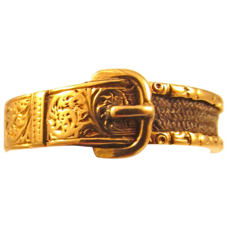 Antique Georgian Gold and hair Buckle Ring For Sale at 1stdibs