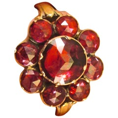 Antique  Garnet Gold Cluster Ring