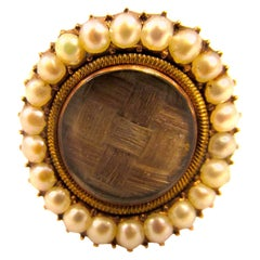 Antique Memorial Pearl Hair Gold Ring