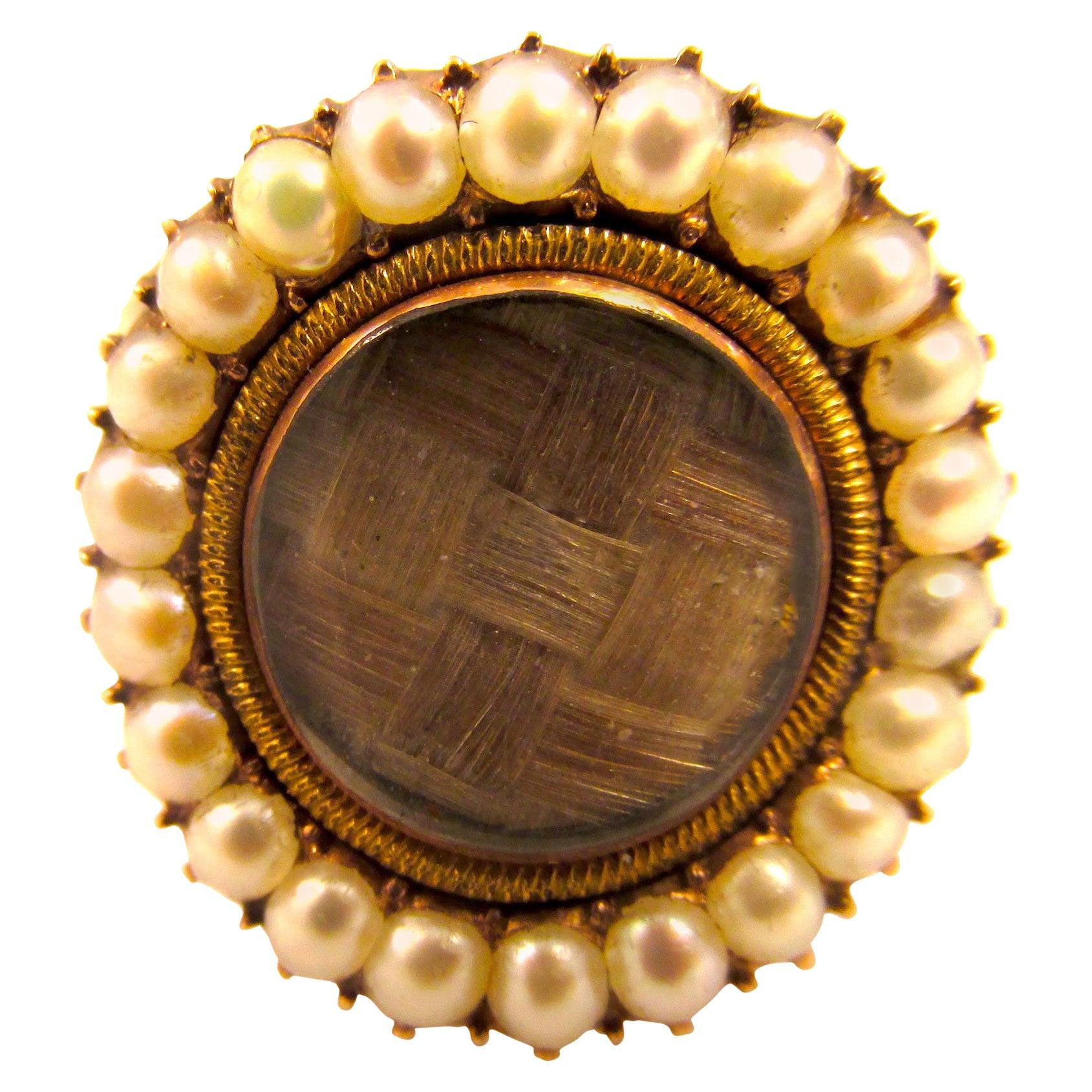 Antique Memorial Pearl Hair Gold Ring