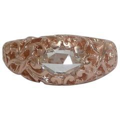 Antique Rose Cut Diamond Solitaire Engagement Ring