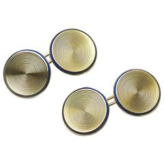 Gold Disc Cufflinks With Enamel