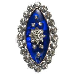 Georgian Diamond and Blue Glass Mourning Ring