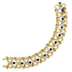 Nautical Design Sapphire and Diamond Bracelet