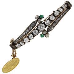 Antique Diamond Emerald Coin Bracelet