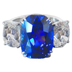 Jewel of Kashmir 10.88 Carat Sapphire Two Cushion Cut Diamond Platinum Ring