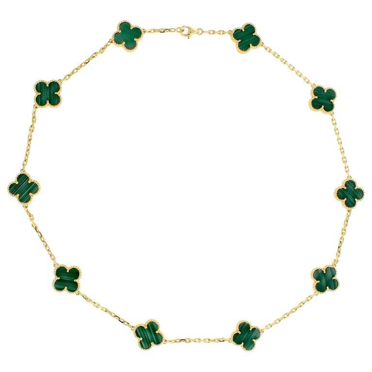 Van Cleef & Arpels Alhambra Malachite Necklace, 10 Motifs 1